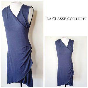 LA CLASSE COUTURE Faux Wrap Navy Dress